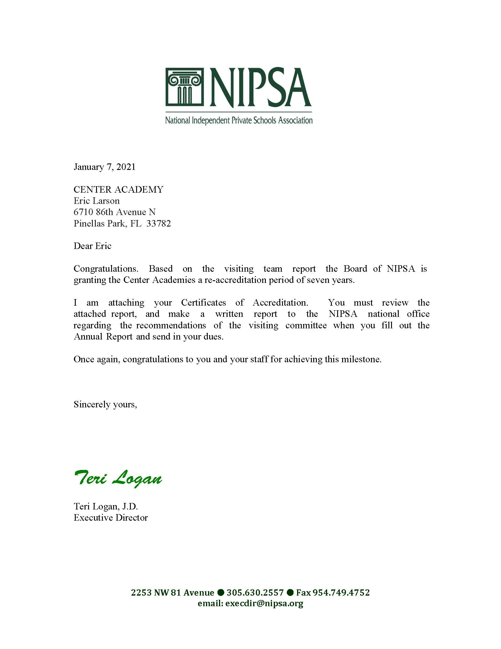 Board of NIPSA awards Certificate of Academic Accreditation